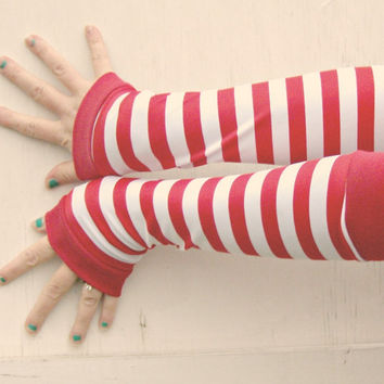 Candy Cane Arm Warmer Gloves gift red and white stripe Waldo christmas
