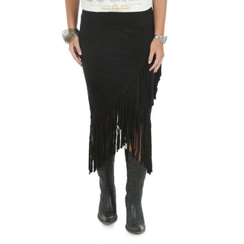 Wrangler Rock 47 Womens Black Suede Western Fringe Skirt