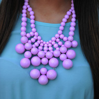 Big Bold Bubble Necklace: Light Pink/Lavender | Hope's