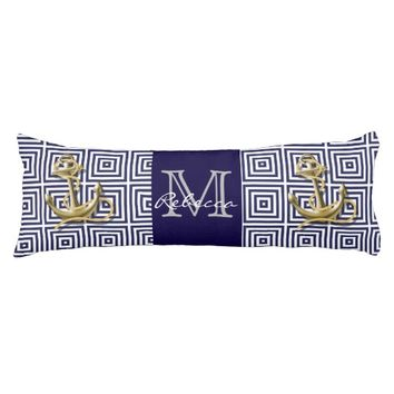 navy preppy pattern nautical anchor body pillow