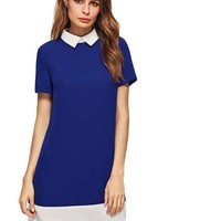 Women Business Casual Clothing Office Dress Royal Blue Contrast Collar And Hem Short Sleeve Dress