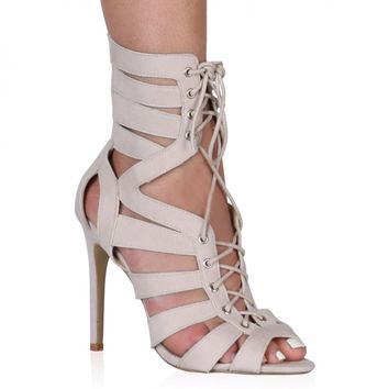 Gianna Nude Faux Suede Lace Up Mid Calf Heel