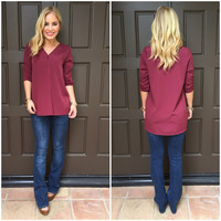 Liona 3/4 Sleeve Burgundy Blouse