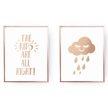 Set Of 2 Prints, The Kids Are All Right, Bedroom Poster, Real Gold Foil Print, Rain Cloud Poster, Typography Art, Home Decor, Nursery Prints