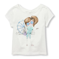 Toddler Girls Short Sleeve Embellished Graphic Knotted Cutout Back Top | The Children's Place