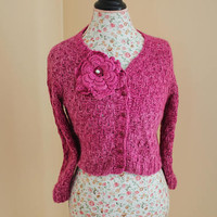 Ready to ship - 100 Percent Angora Rabbit Handmade Knit Colour Pink Angora Bolero with removal Flower Pin /Will fit Size Small to Medium