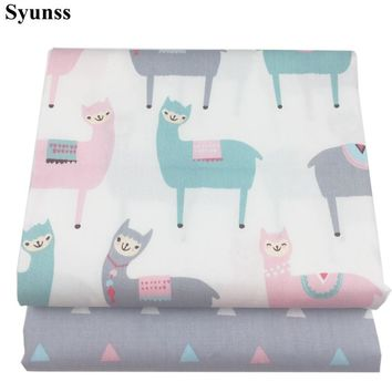 Syunss Gray Pink Alpaca Print Twill Cotton Fabric DIY Handmade Sewing Patchwork Baby Cloth Bedding Textile Quilting Tilda Tissus