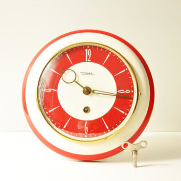 Midcentury Diehl Red Ivory Clockwork Wall Clock - Made in Germany