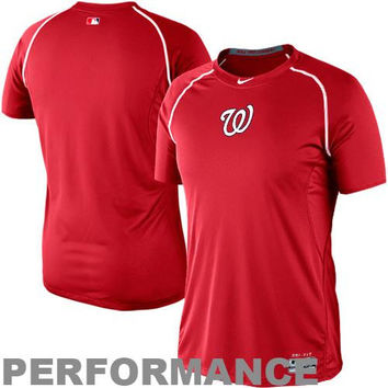 Nike Washington Nationals Pro Combat Core Raglan Performance T-Shirt - Red