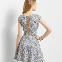 Daisy Lattice-Back Skater Dress