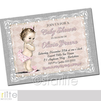 Pink Gray Lace Burlap   Vintage Baby Shower Invitation   5x7   Baby Girl    Shabby