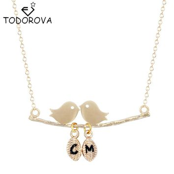 Todorova Cute Two Birds Leaves Necklaces Fall in Love Pendant Lovers Animal Necklace Women Valentines Day Gift for Girlfriend