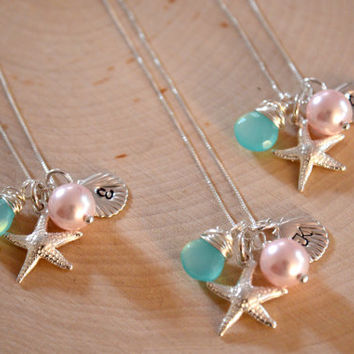 Bridesmaid Necklaces, Starfish Initial Shell Aqua Chalcedony Pearl Sterling Silver Charm Hand Stamped Wedding Necklace