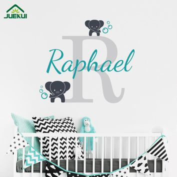Customized Name Elephant Butterfly Wall Decal for Girls Boys Kids Baby Room Mural Vinyl Wall Sticker Nursery Wall Decor J66