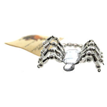 Halloween SPIDER BRACELET SILVER Plastic Beads And Wire Jewelry Bethany Lowe Designs LO9413 SILVER