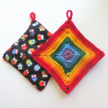 Rainbow Trivets in Decorative Crochet Squares, set of two, granny square hot pads with backing, ready to ship.