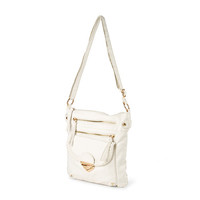 Portland White Faux Leather Crossbody Bag