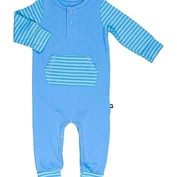 Marina Blue Stripe Pocket Playsuit - Infant