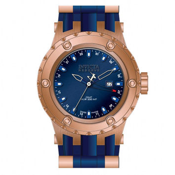 Invicta 12032 Men's Reserve Subaqua Diver Blue Dial Rubber Strap Rose Gold Stainless Steel GMT Dive Watch