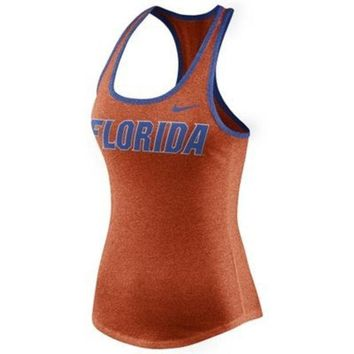 ESBON NCAA Women's Nike Orange Florida Gators Marled Wordmark Tank Top