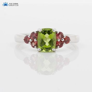 PJC Natural Gemstone 8*6mm 1.57cts Cushion Shape Manchurian Peridot With 0.56cts Ruby Sterling Silver 925 Ring