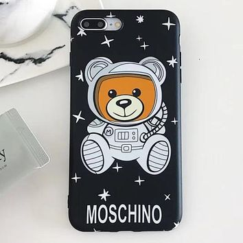 Moschino Tide brand classic star astronaut Teddy bear iPhone X mobile phone case soft shell cover Black
