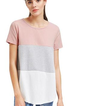 Color Block T-shirt Women Striped Cut And Sew Curved Hem Casual Tops Short Sleeve Patchwork Basic T-shirt
