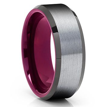 Purple Tungsten Wedding Ring - Gray Tungsten Ring - Purple Wedding Band