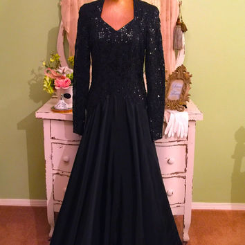 30s 40s Evening Gown, Sequin Satin Dress, 1940s WWII Dress, Large XL, Long Elegant Gown, Vintage Formal Dress, Black Opera Dress, Glam Dress