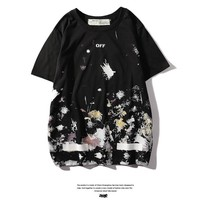 Hot Tunic off white Women Man Fashion Print Sport Shirt Top Tee