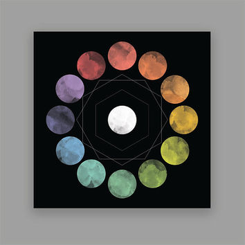 Geometric Circle Print, Wall Art Print, Rainbow Circles, Square Print, Abstract Print, Watercolor, Circles, Home Wall Decor