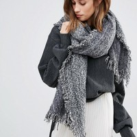 Stitch & Pieces Tonal Frayed Edge Long Scarf at asos.com