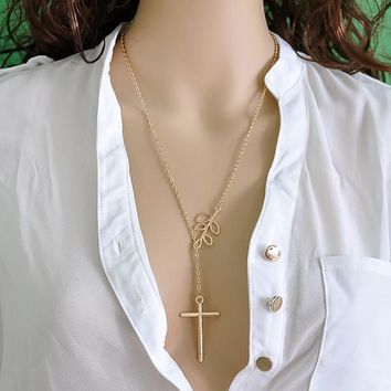 Gold Infinity Cross Pendant with Branch
