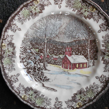 Friendly Village - Johnson Bros - SchoolHouse  - English Transferware - Dinner Plate - 10 inch