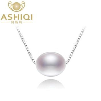 ASHIQI Real New Natural freshwater pearl necklace with 925 sterling silver pendant necklace for women  Natural pearl jewelry