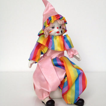 Vintage Porcelain Clown Rainbow Figurine