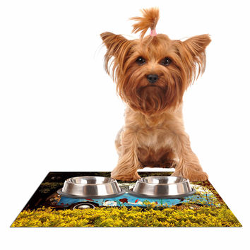 """Angie Turner """"Hippie Bus"""" Blue Yellow Dog Place Mat"""
