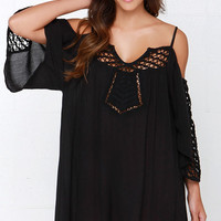 Amuse Society Lola Black Off-the-Shoulder Dress