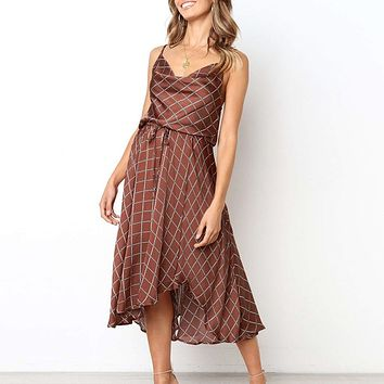 Sexy plaid women summer dresses lace up wrap strap evening party dress Vintage midi vestidos de fiesta dress ladies