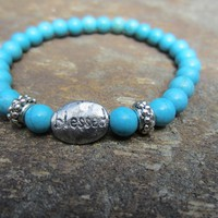 Beaded Gemstone Turquoise Stretch Bracelet with Blessed Charm