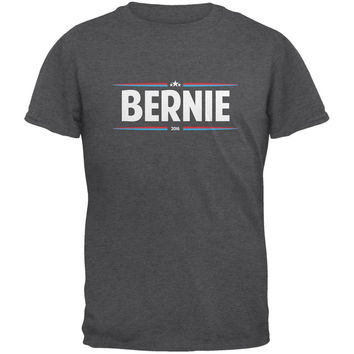 Election 2016 - Bernie Thin Stripes Dark Heather Adult T-Shirt