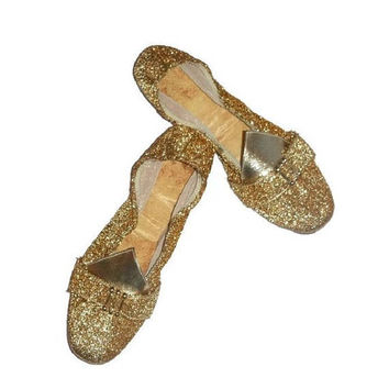60s Vintage GOLD METALLIC Shoes Glittery Glam MOD Atomic Space Age Block Heel Twiggy Fashion Mad Men Loafers Wedding Slippers Genie Costume