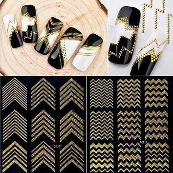 ESBEB2 Gold Metal 3D Nail Stickers Stripes Wave Line DIY Nail Art Adhesive Manicure Transfer Sticker Water Slide Nail Tips Stickers