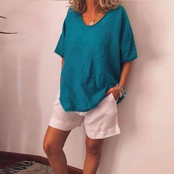 Cotton Linen Womens Blouses And Tops Solid Loose Ladies Tops Short Sleeve O Neck Female Tunic Shirts Casual Summer Top Plus Size