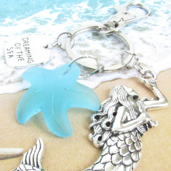 Sea Glass Starfish and Mermaid Keychain