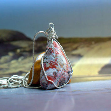 Crazy Lace Agate free form pendant silver wire wrapped with silver plated necklace