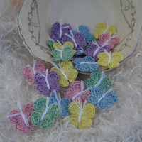 Butterfly crochet applique set of 25 Spring by thesetinytreasures