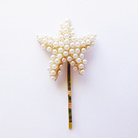 Pearl Starfish Hair Pin Starfish Bobby Pin Starfish Hair Clip Mermaid Hair Clip Beach Bridal Hair Accessories Beach Wedding Bridesmaid Gifts
