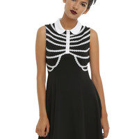Rib Cage Collar Sleeveless Dress