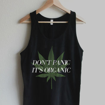 Don't Panic It's Organic Vintage Cannabis Print Unisex Tank Top